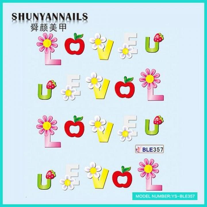 Слайдер дизайн для ногтей, Водные Наклейки День влюбленных, LOVE