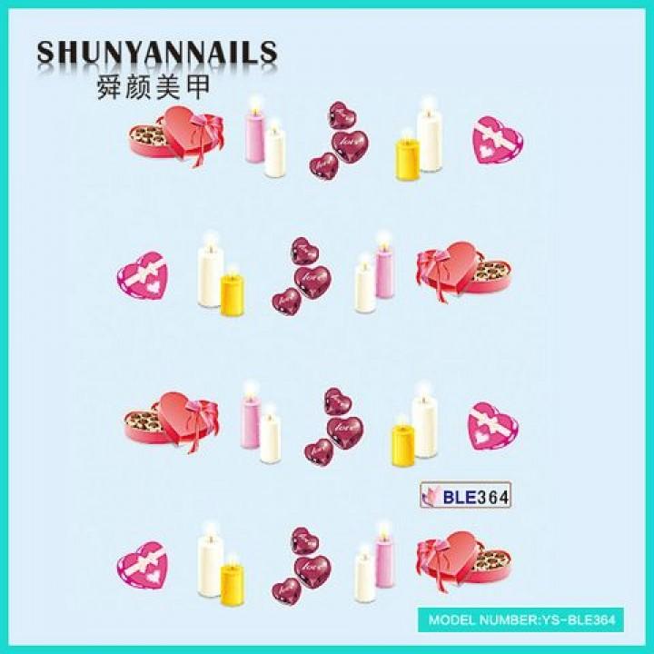 Слайдер дизайн для ногтей, Водные Наклейки День влюбленных, свечи, сердечки