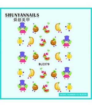 Водные Наклейки, Слайдер дизайн для ногтей Фрукты, апельсин, арбуз, банан, ананас, вишенки
