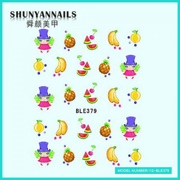 Слайдер дизайн для ногтей, Водные Наклейки Фрукты, апельсин, арбуз, банан, ананас, вишенки