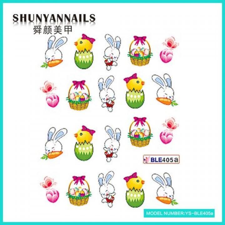 Слайдер дизайн для ногтей, Водные Наклейки Пасхальные яйца, зайчик, птичка