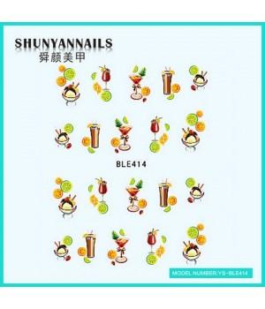 Водные Наклейки, Слайдер дизайн для ногтей Фрукты, апельсин, лайм, коктейль