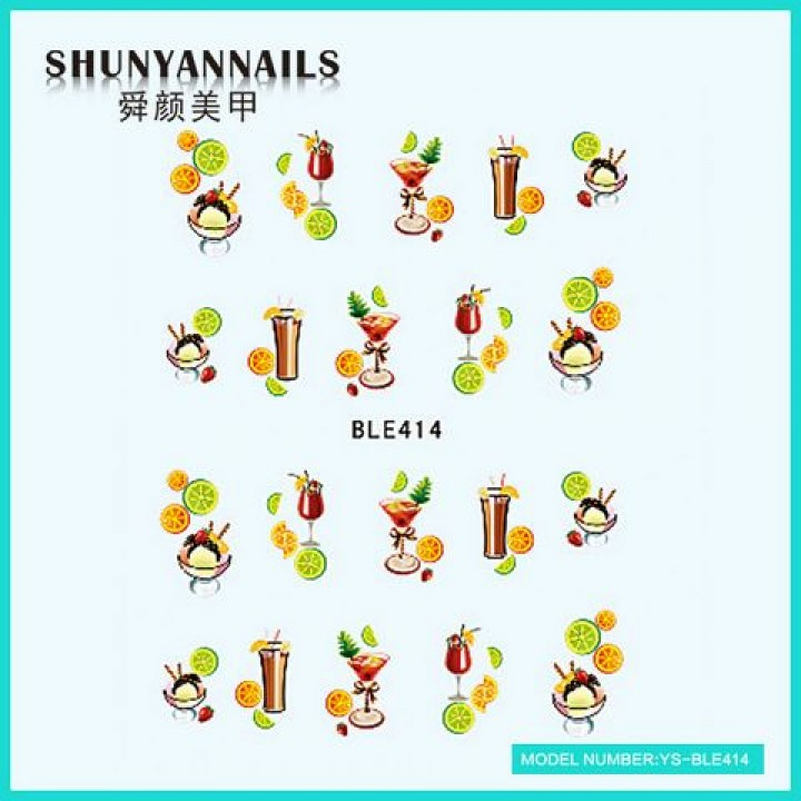 Слайдер дизайн для ногтей, Водные Наклейки Фрукты, апельсин, лайм, коктейль