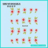 Водные Наклейки, Слайдер дизайн для ногтей Цветы розово красные