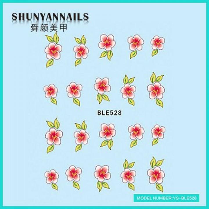 Слайдер дизайн для ногтей, Водные Наклейки Цветы розово красные