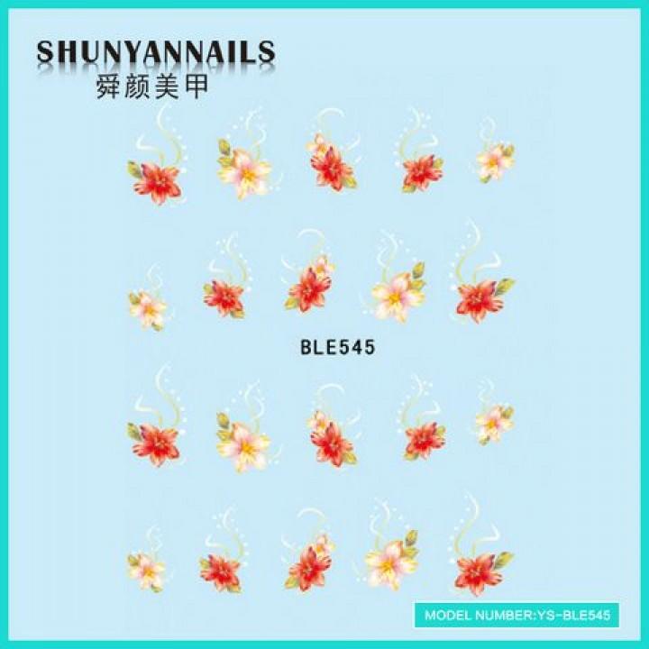 Слайдер дизайн для ногтей, Водные Наклейки Цветы, лилия розовая, красная