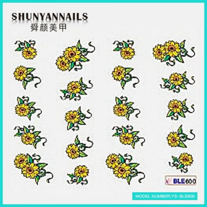 Слайдер дизайн для ногтей, Водные Наклейки Цветы, подсолнухи