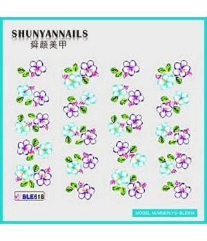 Водные Наклейки, Слайдер дизайн для ногтей Фиалковые и голубые цветы