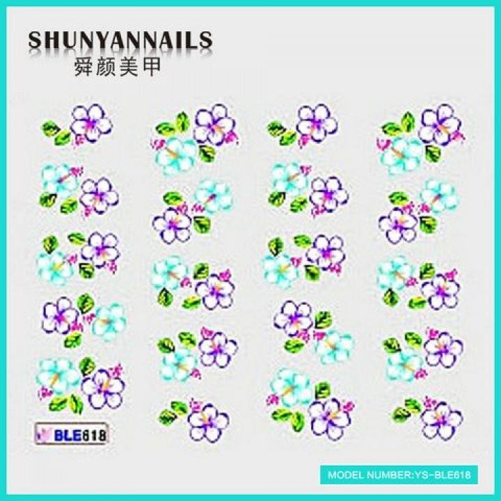 Слайдер дизайн для ногтей, Водные Наклейки Фиалковые и голубые цветы