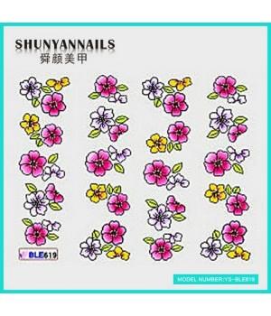 Водные Наклейки, Слайдер дизайн для ногтей Цветы белые, малиновые