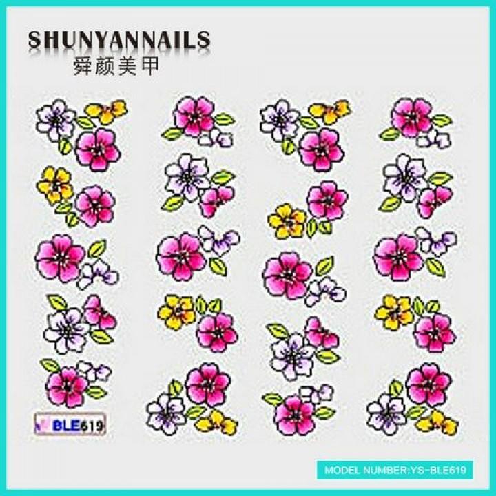 Слайдер дизайн для ногтей, Водные Наклейки Цветы белые, малиновые
