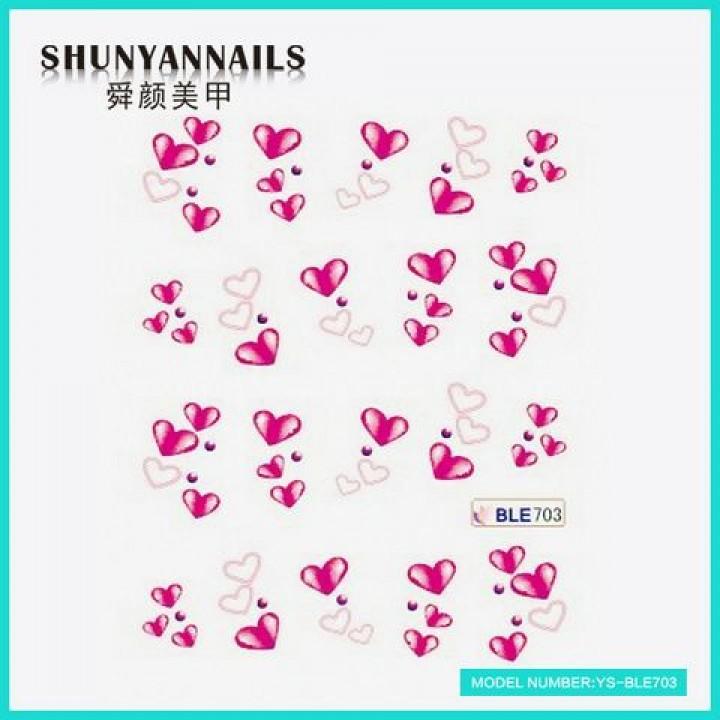 Слайдер дизайн для ногтей, Водные Наклейки Малиновые сердечки