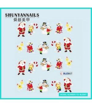 Водные Наклейки, Слайдер дизайн для ногтей Новогодние, мишка, снеговик, звездочки, Дед Мороз, Санта Клаус