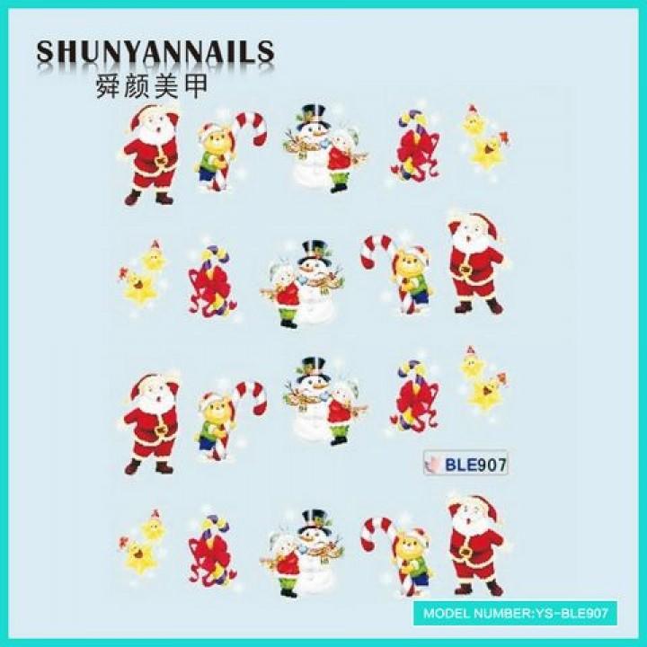 Слайдер дизайн для ногтей, Водные Наклейки Новогодние, мишка, снеговик, звездочки, Дед Мороз, Санта Клаус