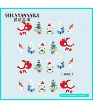 Водные Наклейки, Слайдер дизайн для ногтей Новогодние, мишка, елка, пингвин, снеговик, Дед Мороз, Санта Клаус