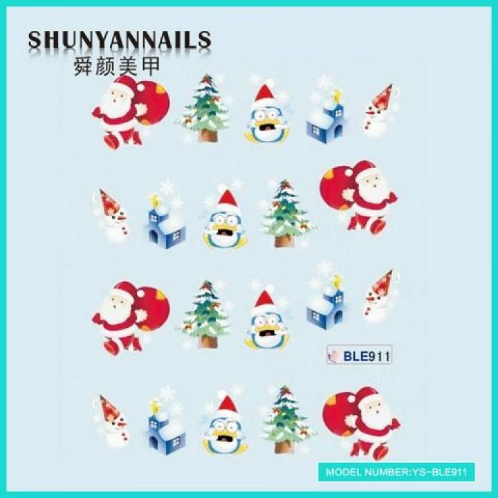 Слайдер дизайн для ногтей, Водные Наклейки Новогодние, мишка, елка, пингвин, снеговик, Дед Мороз, Санта Клаус