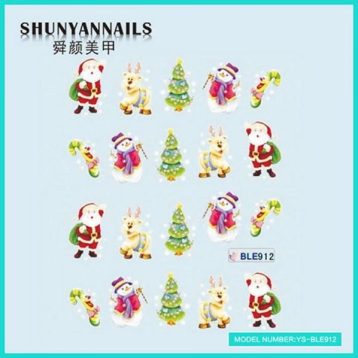 Слайдер дизайн для ногтей, Водные Наклейки Новогодние, олень, елка,снеговик, Дед Мороз, Санта Клаус