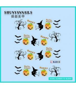 Водные Наклейки, Слайдер дизайн для ногтей Хэллоуин, летучая мышь, деревья
