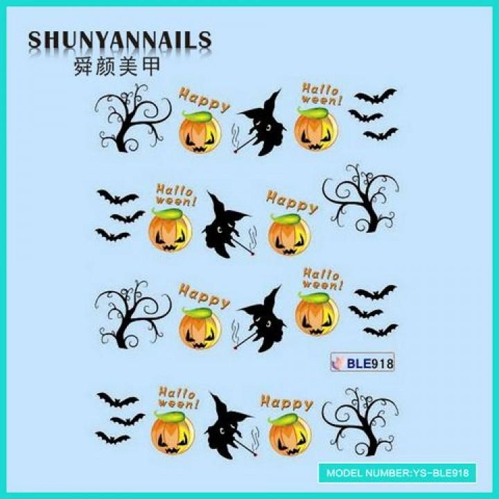 Слайдер дизайн для ногтей, Водные Наклейки Хэллоуин, летучая мышь, деревья