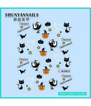 Водные Наклейки, Слайдер дизайн для ногтей Хеллоуин, кошки, летучья мышь, привидения