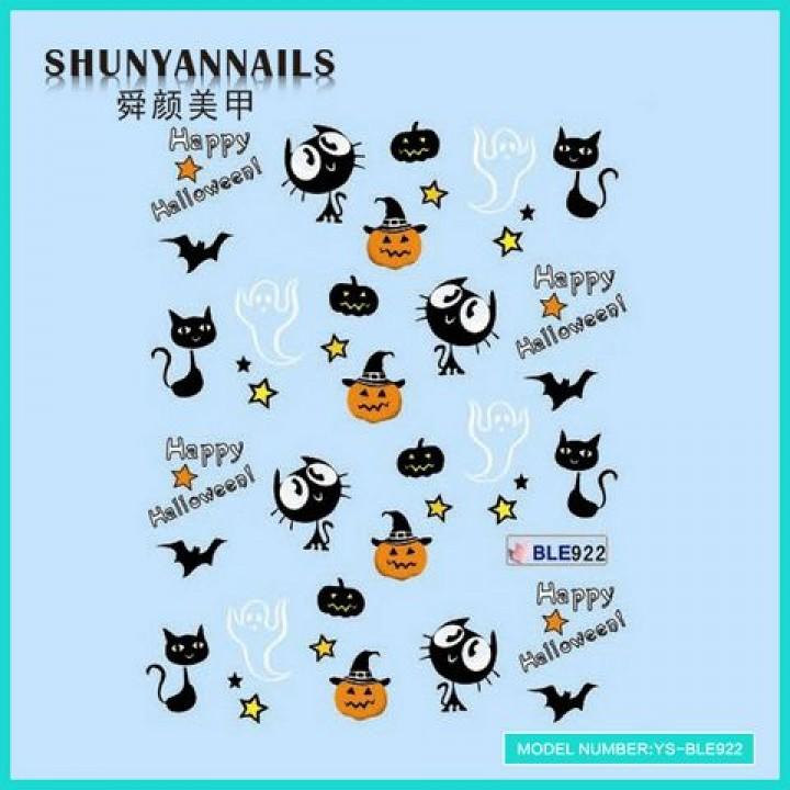 Слайдер дизайн для ногтей, Водные Наклейки Хеллоуин, кошки, летучья мышь, привидения
