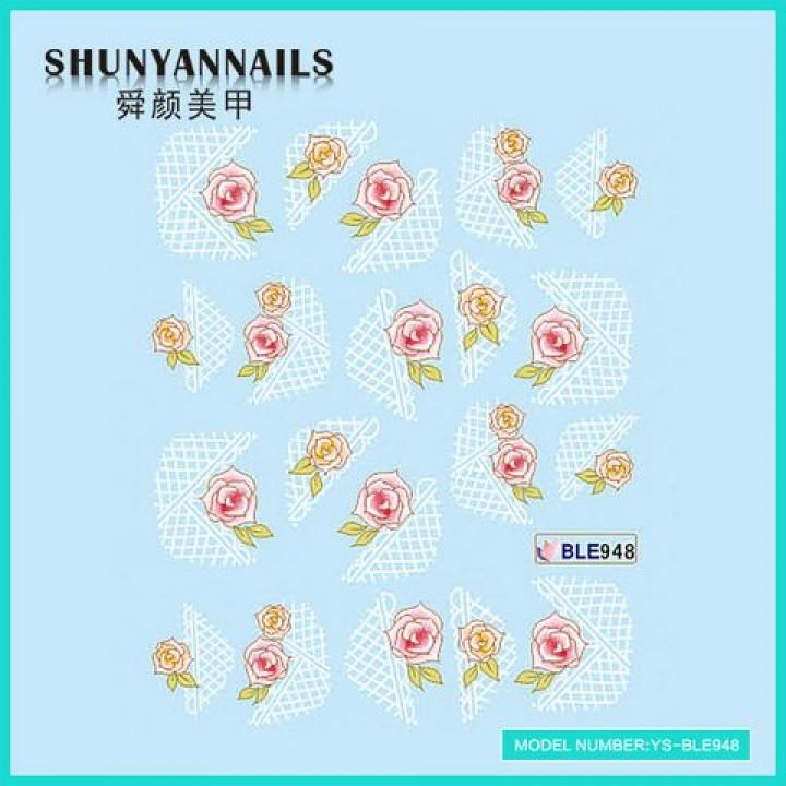 Слайдер дизайн для ногтей, Водные Наклейки Розовые розы, абстракция