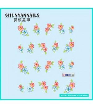 Водные Наклейки, Слайдер дизайн для ногтей Голубые, красные цветы