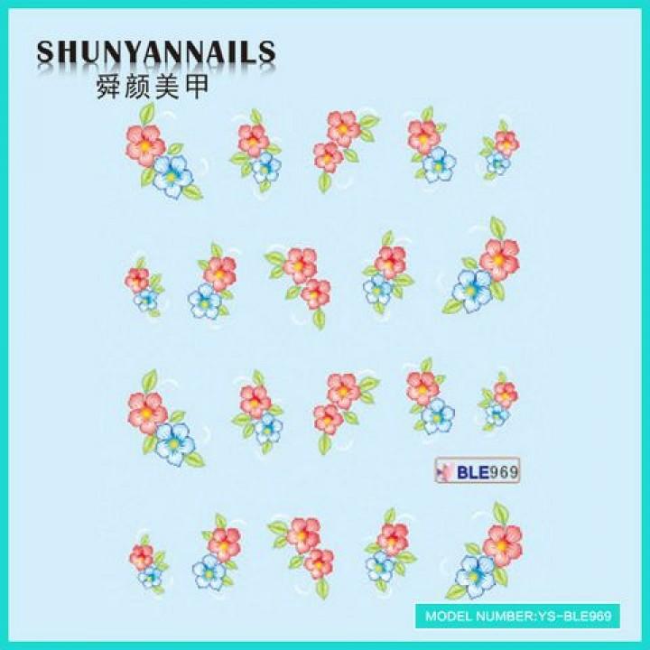 Слайдер дизайн для ногтей, Водные Наклейки Голубые, красные цветы