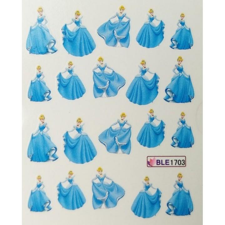 Слайдер дизайн для ногтей, Водные Наклейки Мультяшки, принцесса