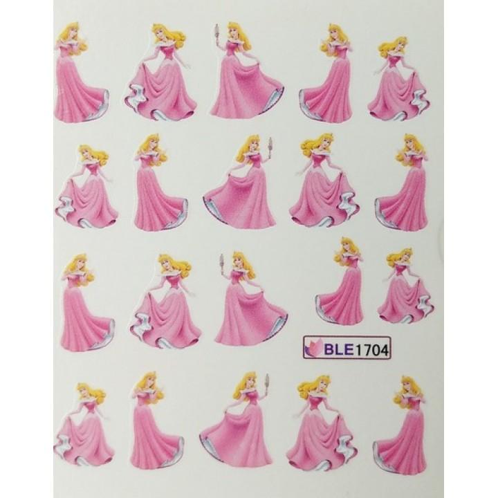 Слайдер дизайн для ногтей, Водные Наклейки Мультики, принцесса