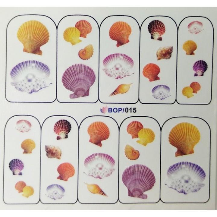 Слайдер дизайн для ногтей, Водные Наклейки Морские ракушки