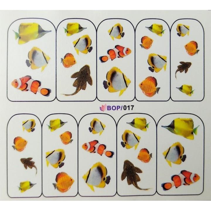 Слайдер дизайн для ногтей, Водные Наклейки Морские рыбки