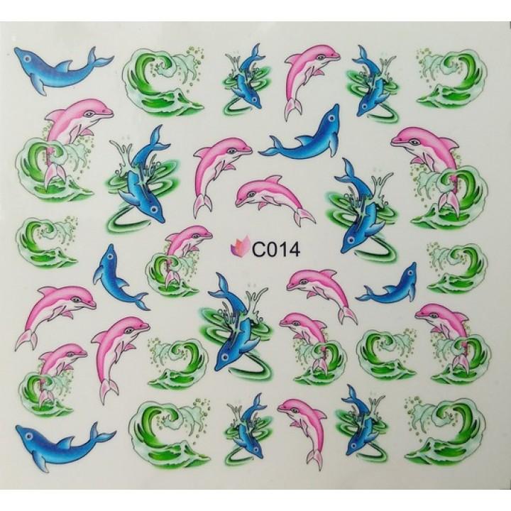 Слайдер дизайн для ногтей, Водные Наклейки Рыбки, дельфины голубые, розовые