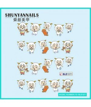 Водные Наклейки, Слайдер дизайн для ногтей Животные, веселые овечки