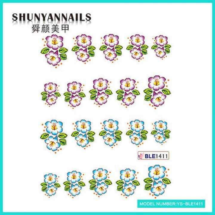 Слайдер дизайн для ногтей, Водные Наклейки Цветочки сиреневые, голубые