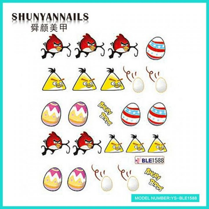 Слайдер дизайн для ногтей, Водные Наклейки Птицы, Angry Birds
