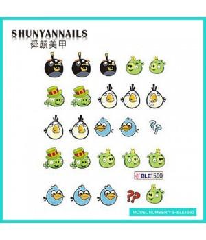 Водные Наклейки, Слайдер дизайн для ногтей Angry Birds