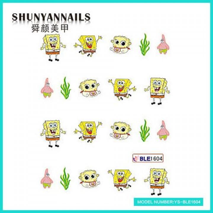 Слайдер дизайн для ногтей, Водные Наклейки Мультики, Губка Боб, Sponge Bob