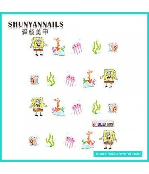 Водные Наклейки, Слайдер дизайн для ногтей Губка Боб, Sponge Bob, мультяшки