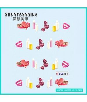 Водные Наклейки, Слайдер дизайн для ногтей День влюбленных, свечи, сердечки