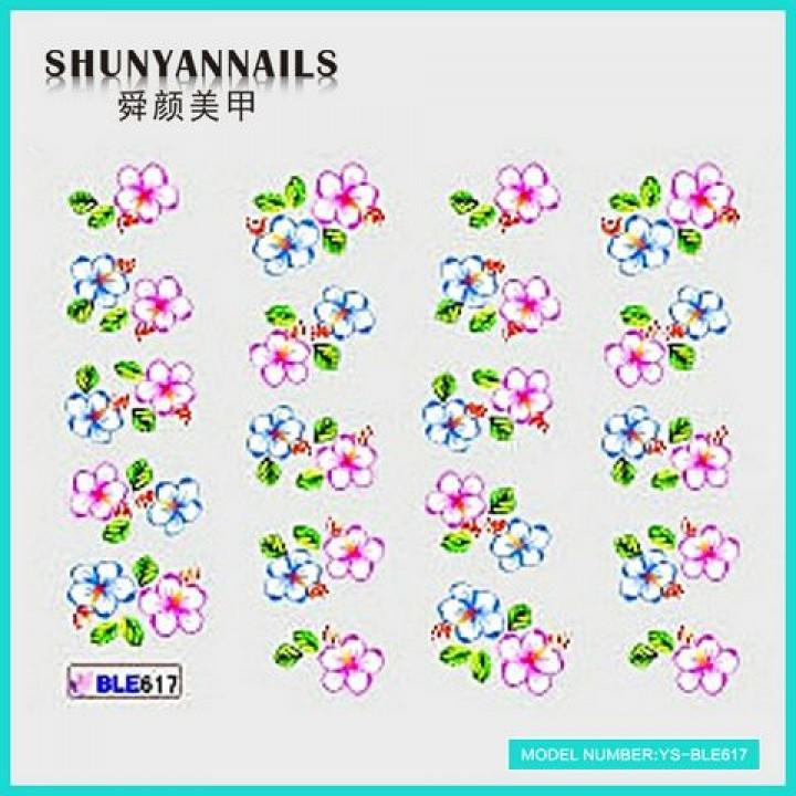 Слайдер дизайн для ногтей, Водные Наклейки Малиновые и голубые цветы