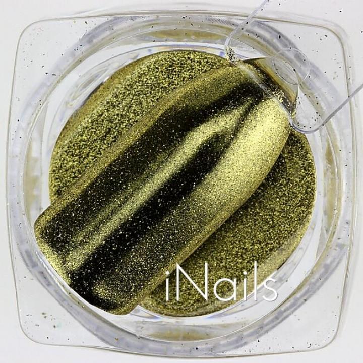 Зеркальная пудра Chrome для дизайна ногтей №03 золото