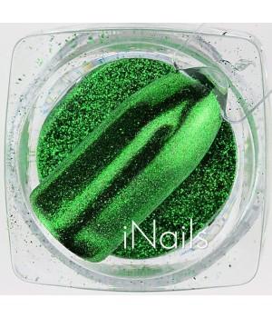 Зеркальная пудра Chrome для ногтей №08 зелёная